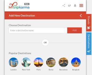 Mytripkarma add destination