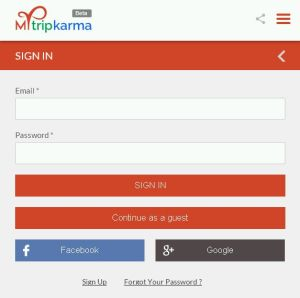 Mytripkarma sign in page