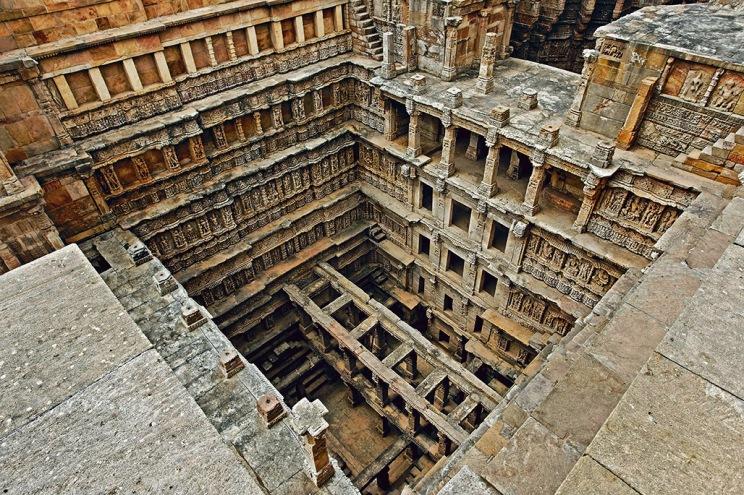 Rani ki vav step well stone carving Patan Gujarat India