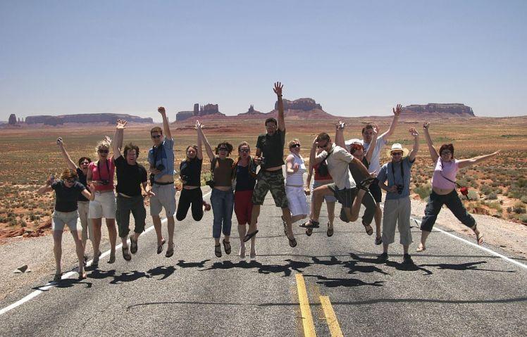 Happy people gesturing