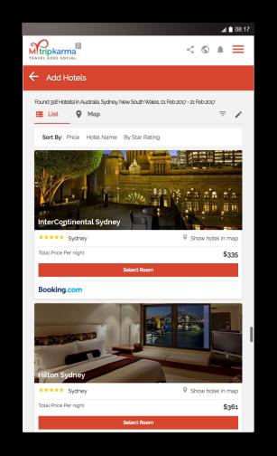 Mytripkarma hotel results